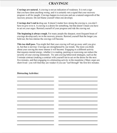 Detox Handout by Cravings Worksheet Addiction Worksheets