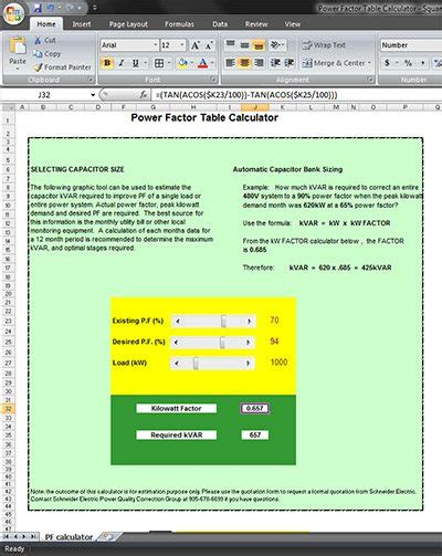 Table Calculator by Free Software Electrical Loads Calculations