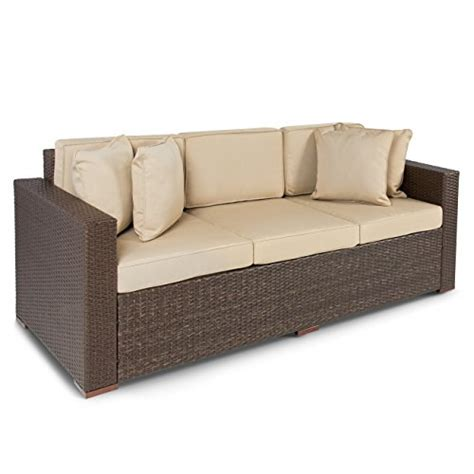 best choice products 174 outdoor wicker patio furniture sofa
