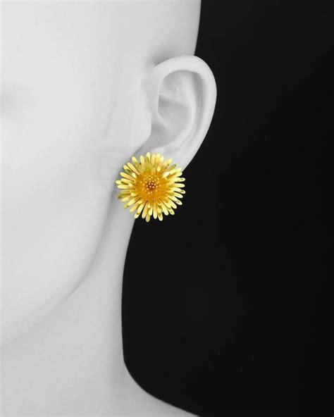 Earrings Dandelion 1 mcteigue and mcclelland gold dandelion quot earrings at 1stdibs