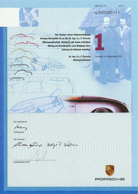 Porsche Akti by Hwph Ag Historische Wertpapiere Dr Ing H C F