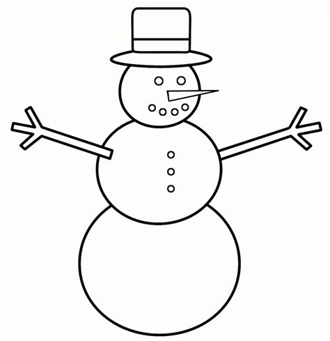 Simple Snowman Coloring Page | drawn snowman easy draw pencil and in color drawn