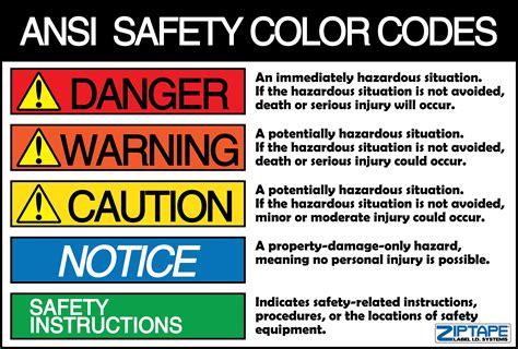 ansi color codes ansi z535 1 safety color codes safety at work coding