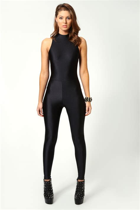 catsuits for women boohoo jules high neck sleeveless disco catsuit in black