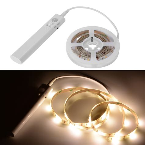 led closet light strip battery operated 1m led strip light wireless pir motion