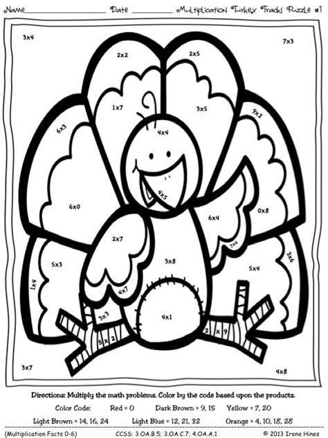 thanksgiving multiplication coloring pages multiplication turkey tracks feather facts math color