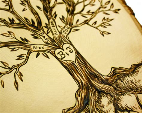 wood burning design templates personalized family tree wood burned tree slice by