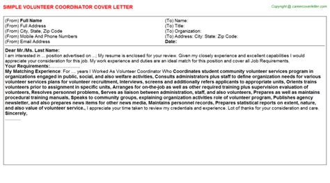 Volunteer Manager Cover Letter by Volunteer Cover Letters