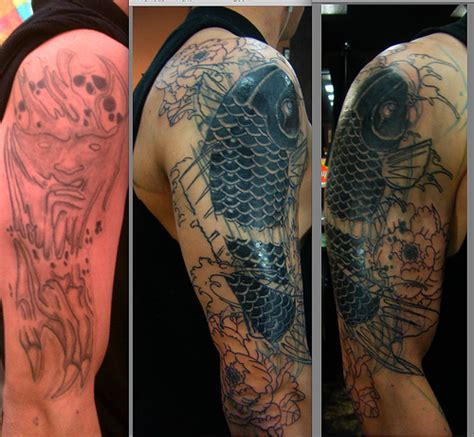 koi fish tattoo cover up koi fish cover up session 2 flickr photo sharing