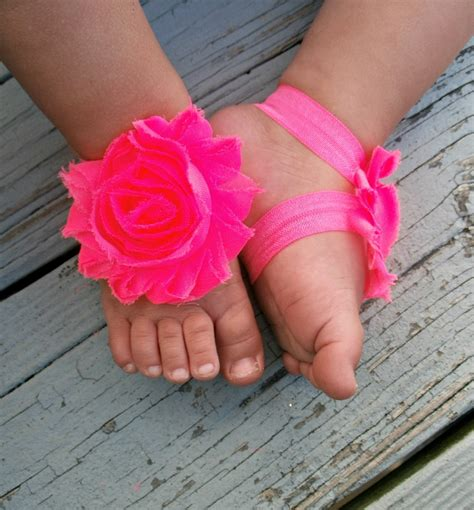 barefoot sandals for baby baby barefoot sandals neon pink flowers by