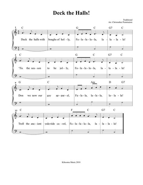 printable lyrics for deck the halls deck the halls sheet music and song for christmas kids