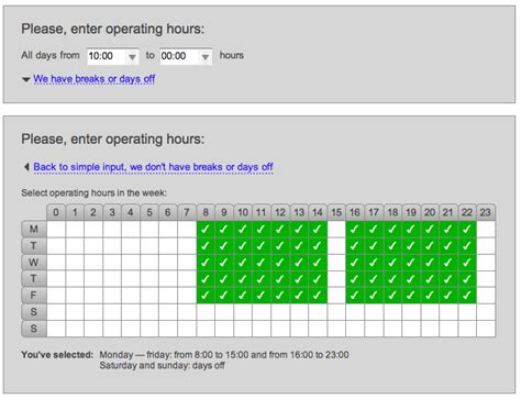 interaction design form for inputting operating hours of