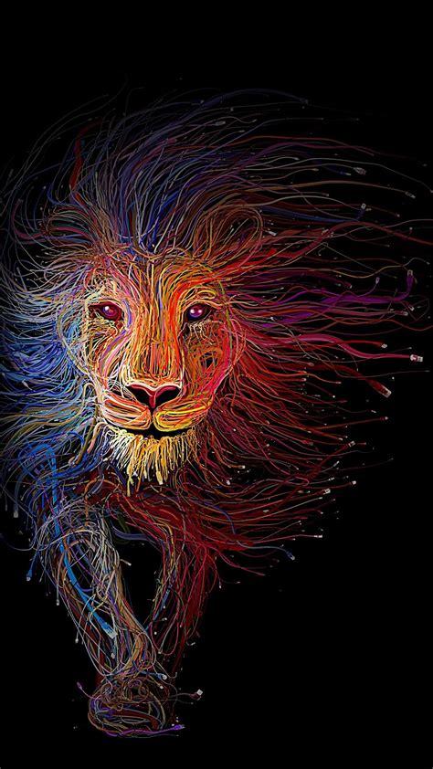 wallpaper colorful lion iphone lion art internet utp cables color black