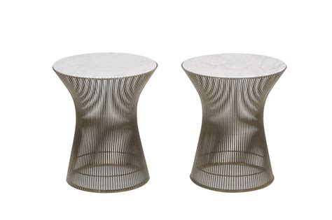 pair of white marble top platner tables in nickel for