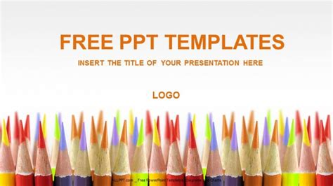 educational powerpoint template colored pencils education powerpoint templates
