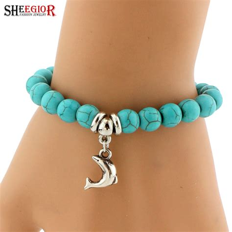 SHEEGIOR Boho Vintage Turquoises Charms Bracelet Men Lovely Tree Snake Owl Pendants Bracelets