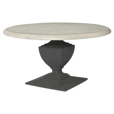 Neil French Concrete Pedestal Round Top Outdoor Dining Table