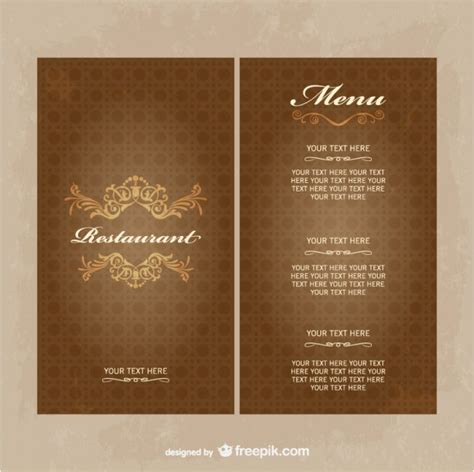 vintage menu template vintage restaurant menu template in brown tones vector