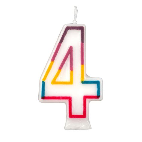 le 4 candele colorful birthday candle number 4 rainbow border cake