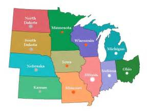 Midwest States Map by Opinions On Midwestern United States