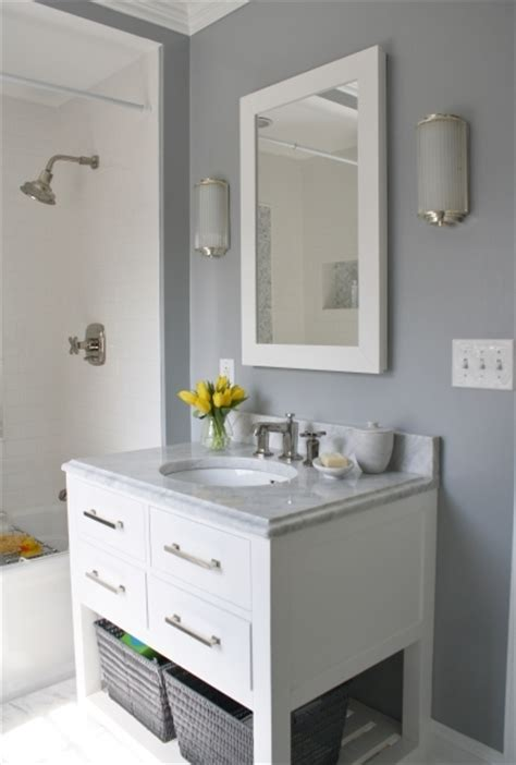 fascinating bathroom grey wall color with white crown molding and black bathroom colors for