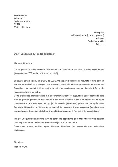 Exemple De Lettre De Motivation Pour Université Modele Lettre De Motivation Universite Licence