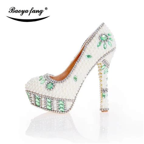 beige pearl women beaded wedding shoes bride fashion dress