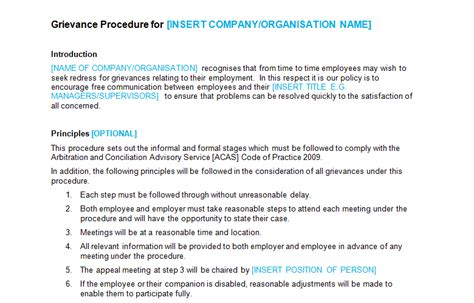 Disciplinary And Grievance Procedures Template disciplinary grievance bizorb