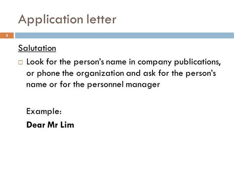 application letter sle ppt application letter salutation 28 images 40 application