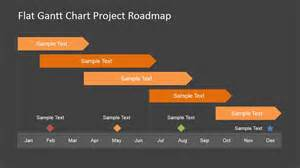Flat Roadmap Gantt Chart With Milestones Slidemodel