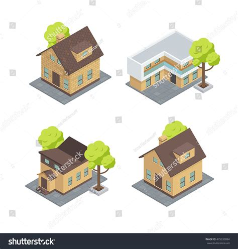 types of tiny houses different types houses there cottages trees stock vector