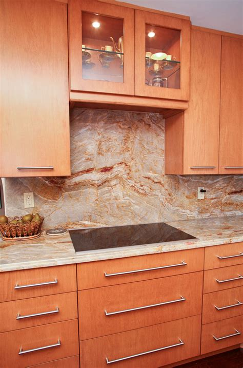kitchens with granite and backsplash matching countertop