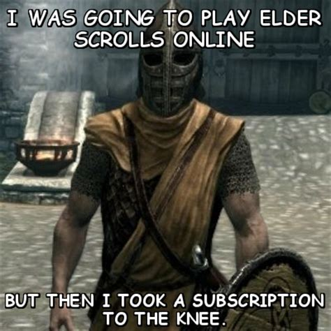 Elder Scrolls Online Memes - tech reviewer elder scrolls online is subscription based