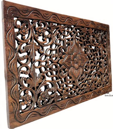 wood carved wall panel carved floral wall rustic home decor asiana home decor