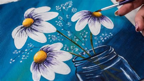 Flower Vase Glass Painting White Flowers In A Glass Jar Acrylic Painting Homemade