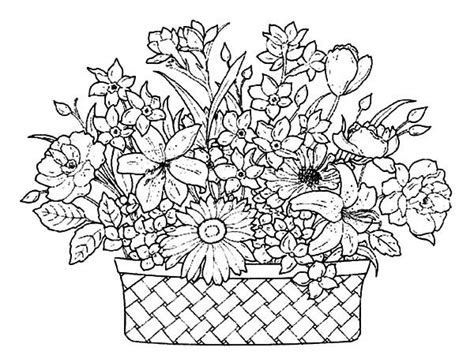 coloring pages of flowers in baskets 41 best adult colouring flowers images on pinterest