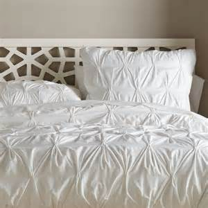 organic cotton pintuck duvet cover white contemporary