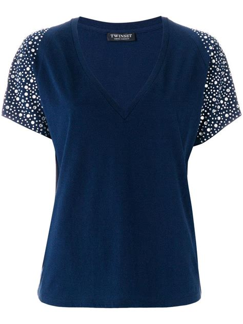 Embellished Sleeve Shirt lyst set embellished sleeve t shirt in blue