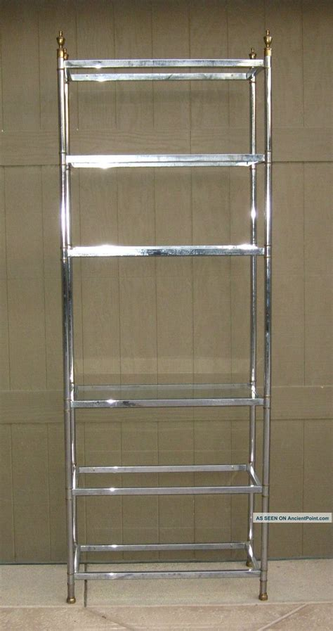 glass and chrome bookshelf images
