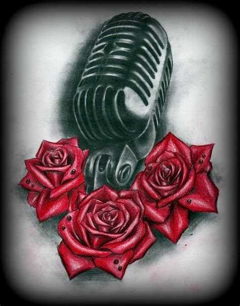 roses old school tattoo 35 microphone tattoos