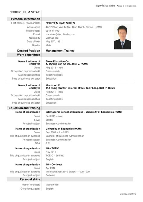 Resume 1 Page Template by Demo Cv