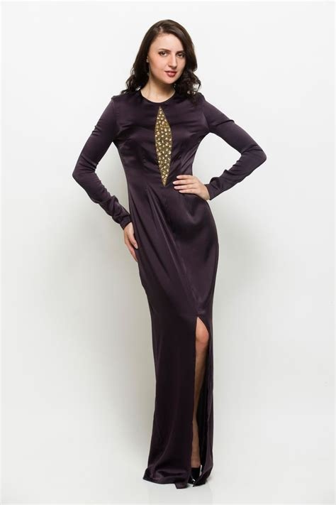 dress maxi emphosis this black maxi gown with golden emphasis has slit it