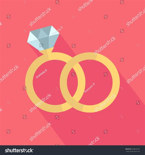 Wedding Ring Flat Design by Vector Wedding Rings Icon Flat Design Stock Vector