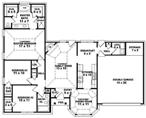 single floor 4 bedroom house plans double bedroom 3 bedroom single story house plan one