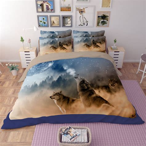 Wolves Bedding Set 3d White Wolves Printed Bedding Set Ebeddingsets