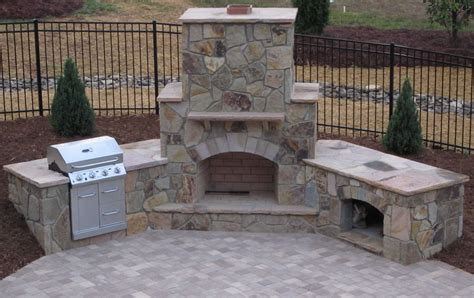 Backyard Masonry Ideas Patio With Fireplace Outdoor Fireplace Grill