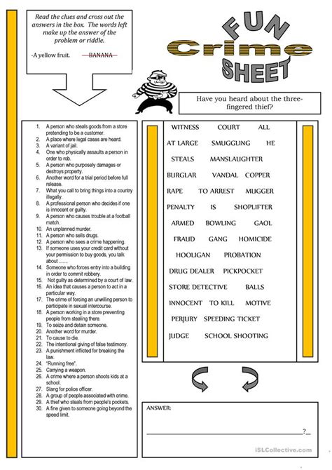 Crime Basics Worksheet 2 Answers by 146 Free Esl Crime And Worksheets