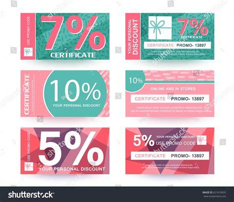 promo card template discount voucher certificate promo code design stock