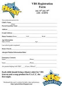 school registration form template free free vbs registration form template vbs