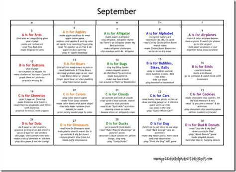 kindergarten themes by month printable calendars a calendar for each month with